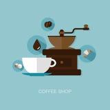 Vektorkaffeestubeillustration Stockfotos