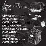 Vektorkaffemeny med en kopp kaffe och en kaffekvarn vektor illustrationer