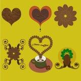 Vektorkaffesymbol och logotappningsamling som isoleras på gul bakgrund Royaltyfri Bild