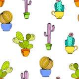Vektorkaktus-Blumenhintergrund Nahtloses Muster mit Kaktus Stockfotos