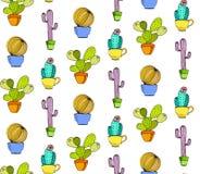 Vektorkaktus-Blumenhintergrund Nahtloses Muster mit Kaktus herein Stockbilder