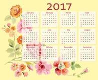 Vektorkalender 2017 år med blommor royaltyfri illustrationer