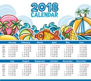 Vektorkalender 2018 år Starter söndag stock illustrationer