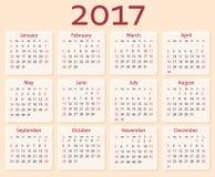 Vektorkalender 2017 år Veckastarter med söndag vektor illustrationer