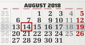 Vektorkalender av august 2018 Royaltyfri Bild