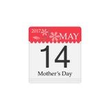 Vektorkalender av dagen för moder` s, 14th Maj, 2017 Royaltyfria Foton