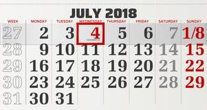 Vektorkalender av juli 2018 Royaltyfria Bilder