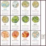 Vektorkalender för 2017 royaltyfri illustrationer