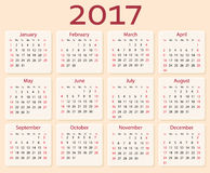 Vektorkalender 2017-jährig Wochenanfänge mit Sonntag Lizenzfreies Stockfoto