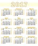 Vektorkalender 2017 - uppsättning Arkivbilder