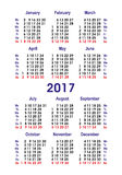 Vektorkalender 2017 Vertikale Wahl Stockbilder