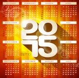 Vektorkalenderillustration 2015 med lång skugga på abstrakt geometrisk bakgrund Royaltyfria Bilder