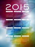 Vektorkalenderillustration 2015 på abstrakt färgbakgrund Royaltyfri Bild