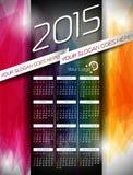 Vektorkalenderillustration 2015 på abstrakt färgbakgrund Fotografering för Bildbyråer