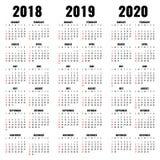 Vektorkalendermall 2018, 2019 och 2020 år Arkivfoton