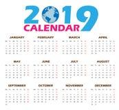 Vektorkalendermallar 2019 Royaltyfri Fotografi