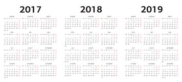 Vektorkalendermallar 2017, 2018, 2019 Arkivbilder