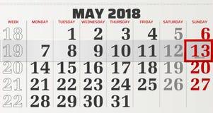 Vektorkalendern av kan 2018 Royaltyfria Bilder