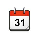 Vektorkalendersymbol med datum 31 Arkivbilder