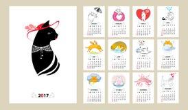 Vektorkalenderuppsättningen för 2017 år i linjen konst och kontur utformar Royaltyfria Bilder