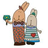 Vektorkanin-flicka och kanin-pojke illustratören för illustrationen för handen för borstekol gör teckningen tecknade som look pas royaltyfri illustrationer