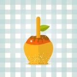 Vektorkaramelapfelikone in der flachen Art Lizenzfreie Stockfotografie