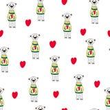 Vektorkarikatur-Artillustration der romantischen Geschenkkarte des Valentinstags mit dem netten B?ren, der Herz in seinen H?nden  stock abbildung