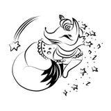 Vektorkarikatur-Artillustration des Schlafenfuchses Getrennt auf wei?em Hintergrund Einfarbige Illustration in der Skizzenart lizenzfreie stockbilder
