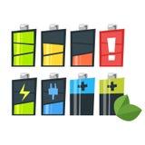 Vektorkarikatur-Artsatz Batterien Ikone für Netz vektor abbildung