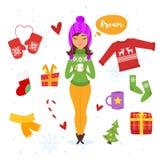 Vektorkarikatur-Artsatz Feiertagseinzelteile Lizenzfreies Stockfoto