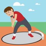 Vektorkarikatur des athletischen Sports der Kugelstoßen Lizenzfreie Stockfotos