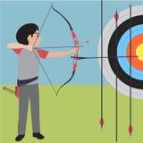 Vektorkarikatur des athletischen Sports des Bogenschießens Lizenzfreie Stockfotos