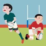 Vektorkarikatur des athletischen Sports des Rugbys Lizenzfreies Stockbild