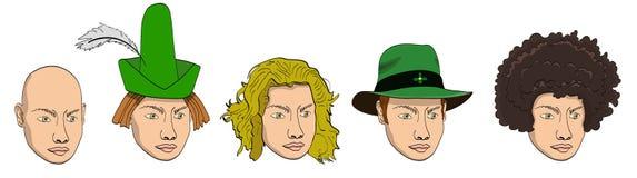 Vektorkarikatur-Gekritzelsatz menschliche Köpfe mit geputtet auf weit geströmtem grünem Hut und spitzem Hut mit der Feder, sandig Lizenzfreie Abbildung