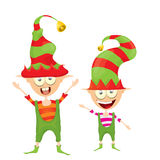 Vektorkarikatur nette glückliches Weihnachtselfe Stockfotos