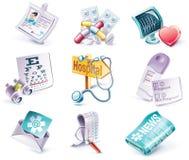 Vektorkarikaturart-Ikonenset. Teil 29. Medizin Stockbilder