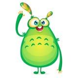 Vektorkarikaturausländer sagt hallo Grünes schleimiges ausländisches Monster mit Tentakeln Glückliches Halloween-Grünmonsterwelle Stockfotos