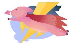 Vektorkarikaturbild des lustigen rosa Schweinfliegens wie ein Superheld Nettes Schwein mit einer langen Nase Vektorillustration, stock abbildung