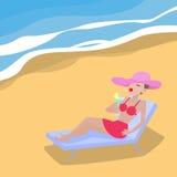 Vektorkarikaturfrau liegt auf deckchair sandigem Strand lizenzfreie abbildung