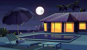Vektorkarikaturhotel nachts Tropische Rücksortierung stock abbildung