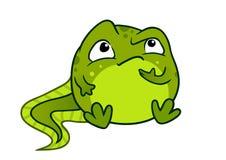 Vektorkarikaturillustration der netten grünen Babykaulquappe-Froschholzkohle Stockbilder