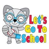 Vektorkarikaturillustration des netten Fuchsjungen geht zur Schule, die für Kindert-shirt Grafikdesign passend ist Lizenzfreies Stockfoto