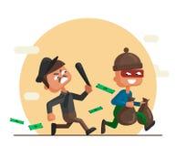 Vektorkarikaturillustration eines Polizeibeamten und des Diebes lizenzfreie abbildung