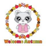 Vektorkarikaturillustration mit nettem Waschbärmädchen auf Herbstgegenständen winden Lizenzfreie Stockfotos