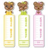 Vektorkarikaturillustration mit netten Bärnmädchen lächeln auf dem bunten Hintergrund, der für Kinderbookmark-Aufkleberdesign pas Stockbilder