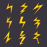 Vektorkarikaturillustrationen des Blitzsatzisolats Stilisierte Bilder für Logodesign stock abbildung
