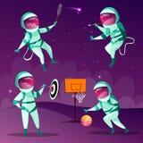 Vektorkarikaturraumfahrer, die Spiele im Kosmos spielen lizenzfreie abbildung