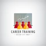 Vektorkarriärutbildning, affärsmöte, teamworklogo, illustration Arkivfoton