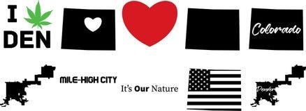 Vektorkarte Denvers Colorado mit amerikanischer Flagge lizenzfreie abbildung