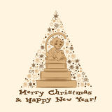 Vektorkarte des neuen Jahres mit Affen und Büchern 2 Stockbild